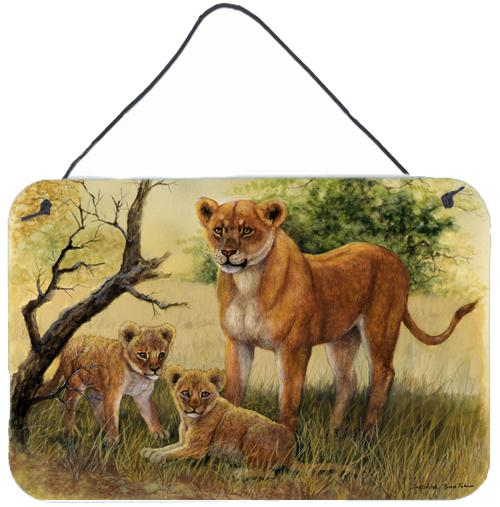 Lion and Cubs by Daphne Baxter Wall or Door Hanging Prints BDBA0307DS812 by Caroline's Treasures