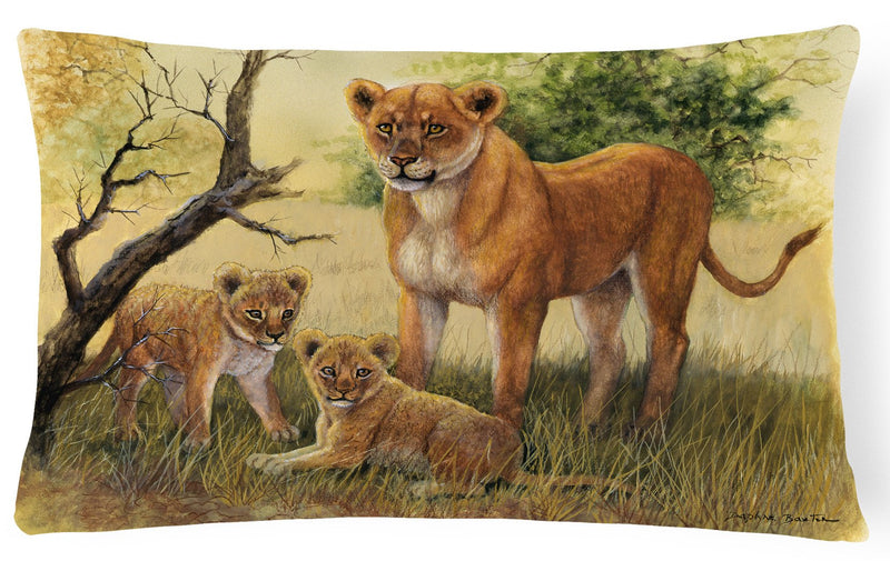 Buy this Lion and Cubs by Daphne Baxter Fabric Decorative Pillow BDBA0307PW1216