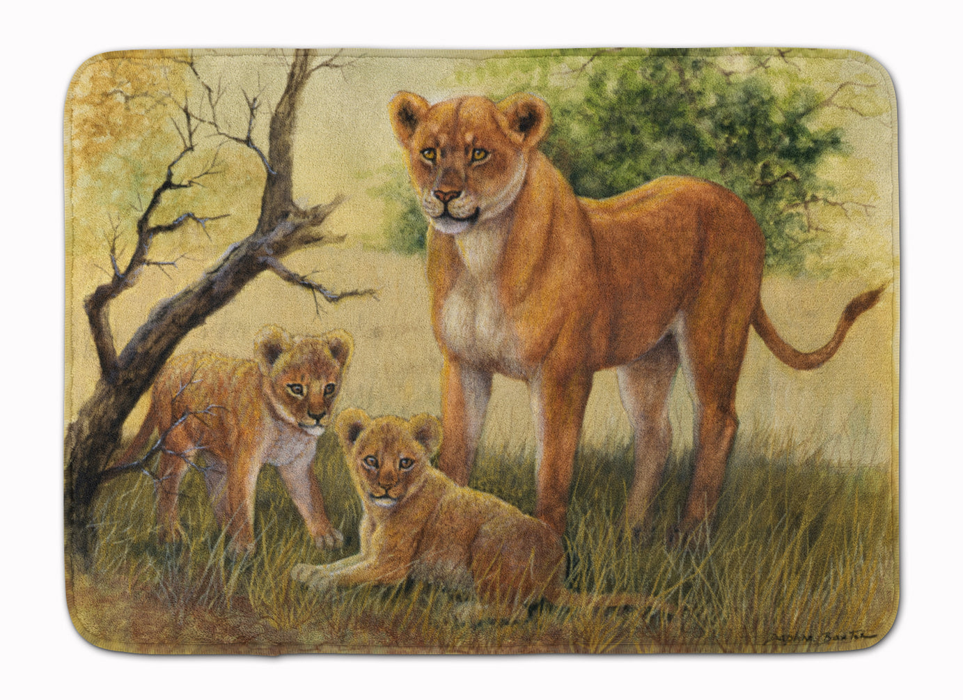 Lion and Cubs by Daphne Baxter Machine Washable Memory Foam Mat BDBA0307RUG by Caroline's Treasures