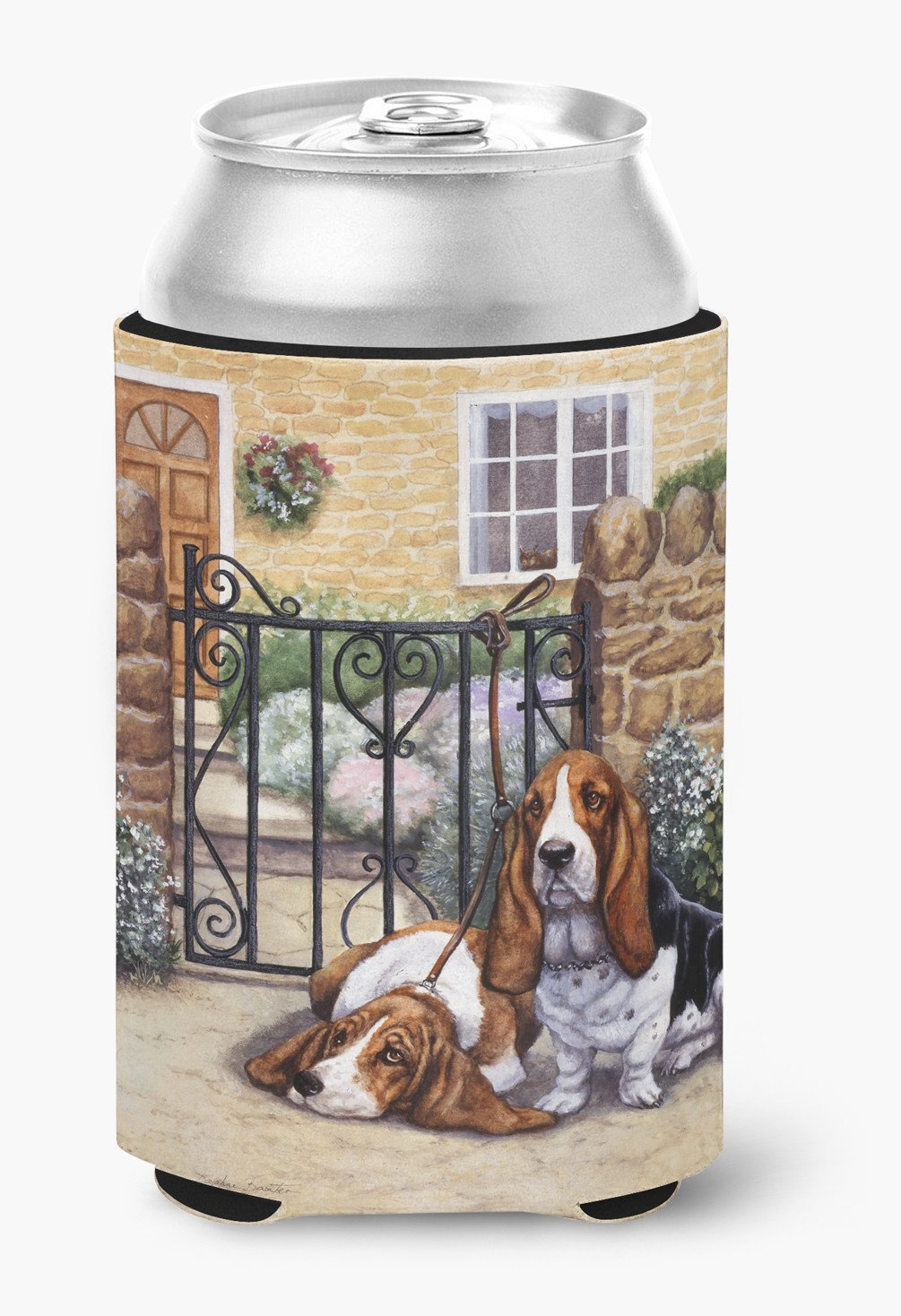Basset Hound at the gate Can or Bottle Hugger BDBA0312CC by Caroline's Treasures