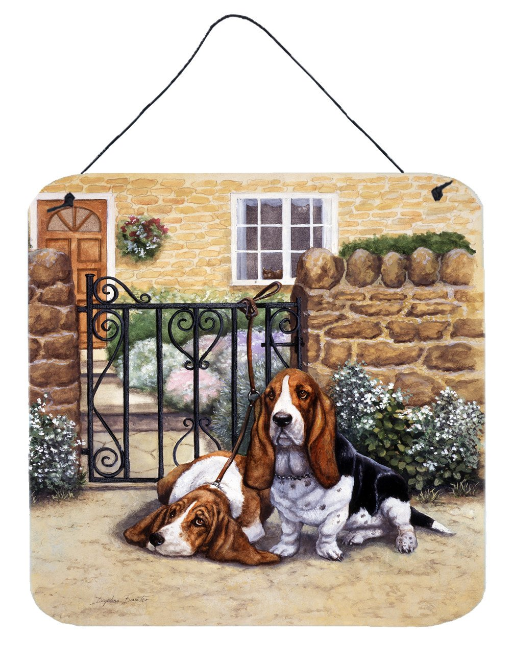Basset Hound at the gate Wall or Door Hanging Prints BDBA0312DS66 by Caroline's Treasures
