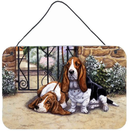 Basset Hound at the gate Wall or Door Hanging Prints by Caroline's Treasures