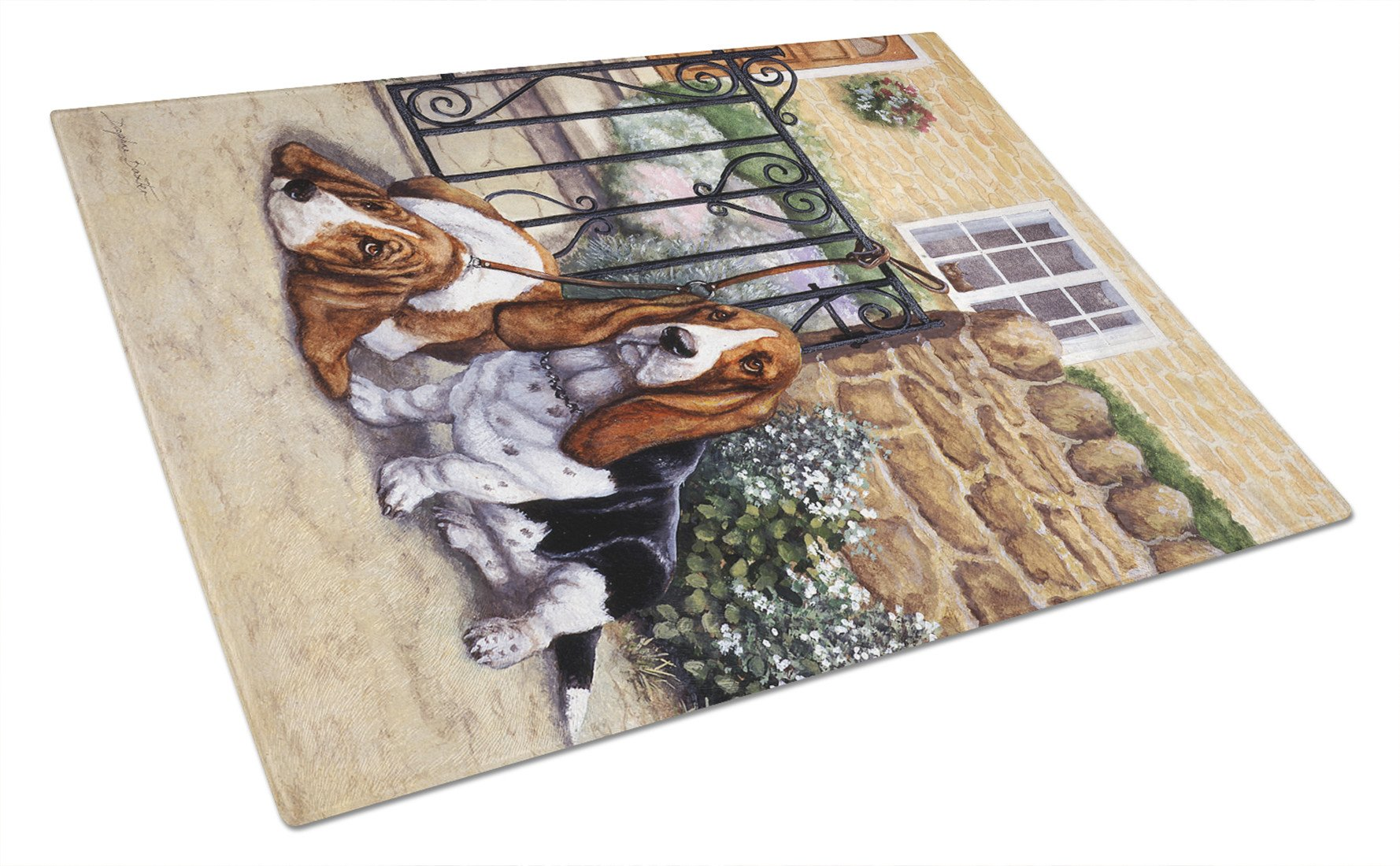 Basset Hound at the gate Glass Cutting Board Large BDBA0312LCB by Caroline's Treasures