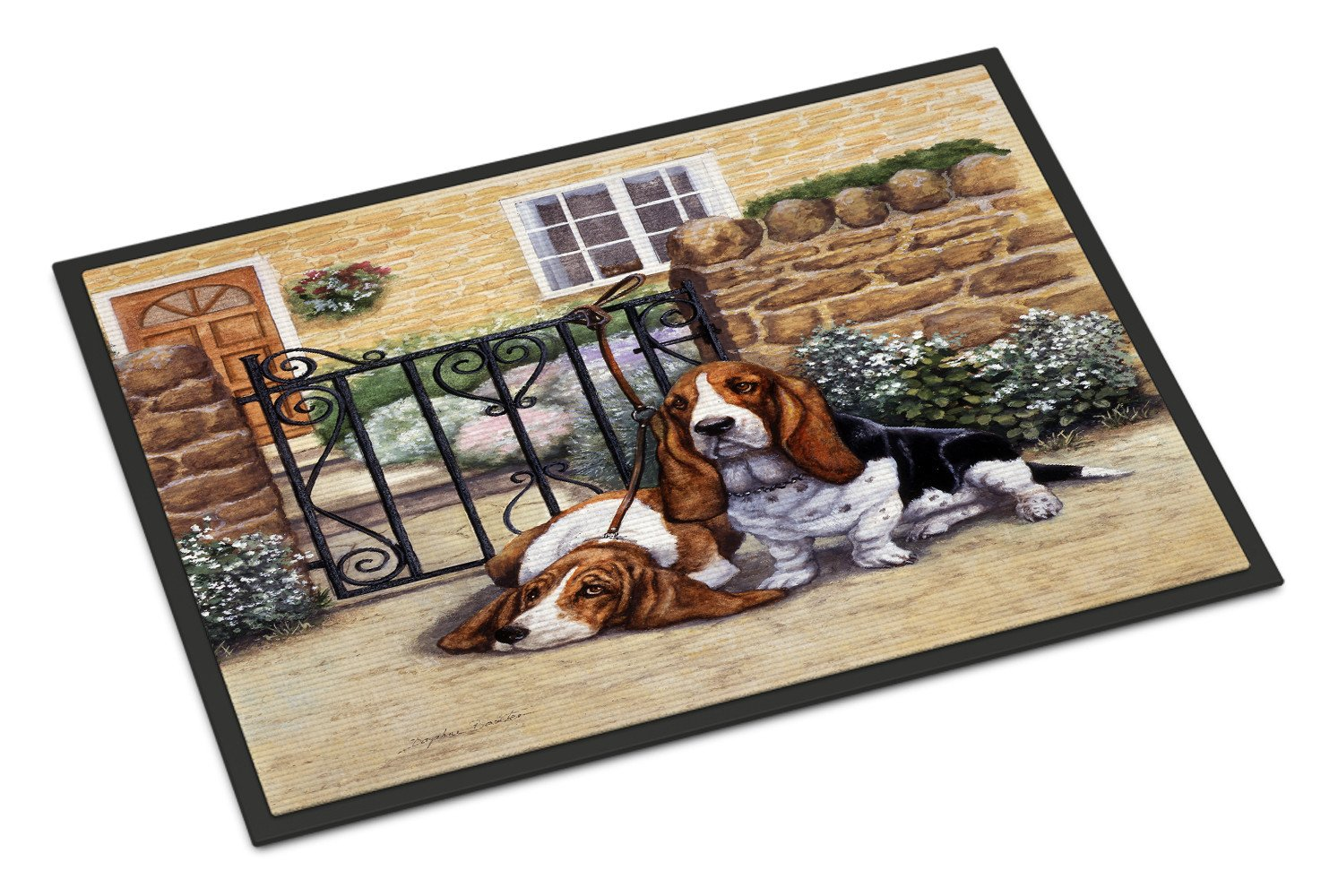 Basset Hound at the gate Indoor or Outdoor Mat 18x27 BDBA0312MAT - the-store.com