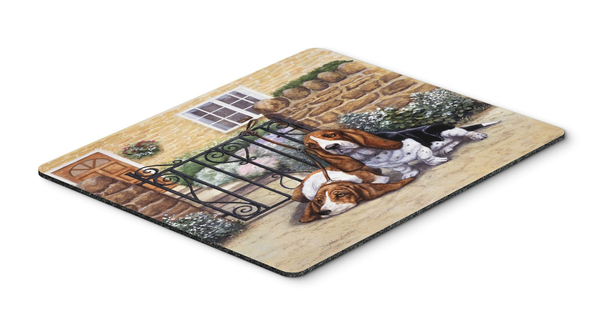 Basset Hound at the gate Mouse Pad, Hot Pad or Trivet BDBA0312MP by Caroline's Treasures
