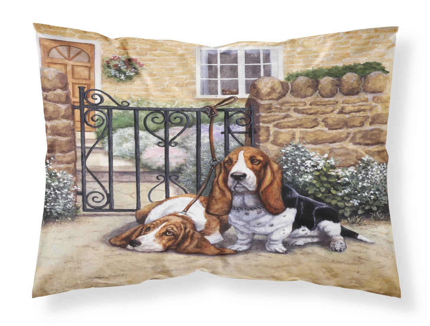 Basset Hound at the gate Fabric Standard Pillowcase BDBA0312PILLOWCASE by Caroline's Treasures