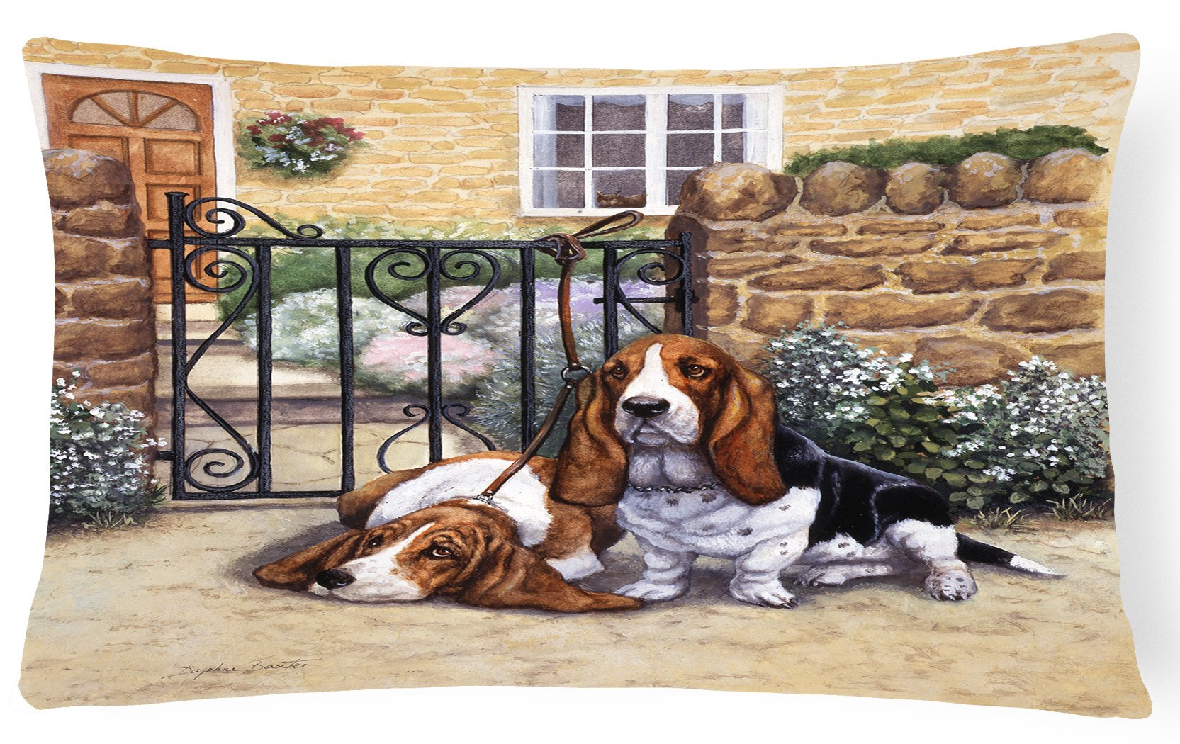 Basset Hound at the gate Fabric Decorative Pillow BDBA0312PW1216 by Caroline's Treasures