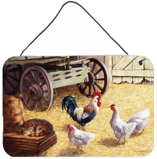 Rooster and Hens Chickens in the Barn Wall or Door Hanging Prints by Caroline's Treasures