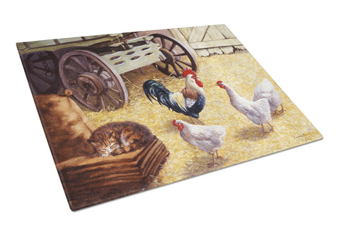 Buy this Rooster and Hens Chickens in the Barn Glass Cutting Board Large BDBA0339LCB