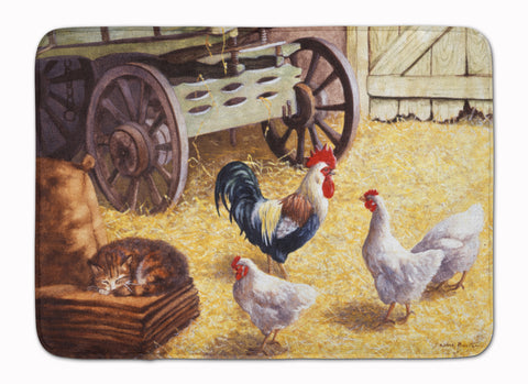 Buy this Rooster and Hens Chickens in the Barn Machine Washable Memory Foam Mat BDBA0339RUG