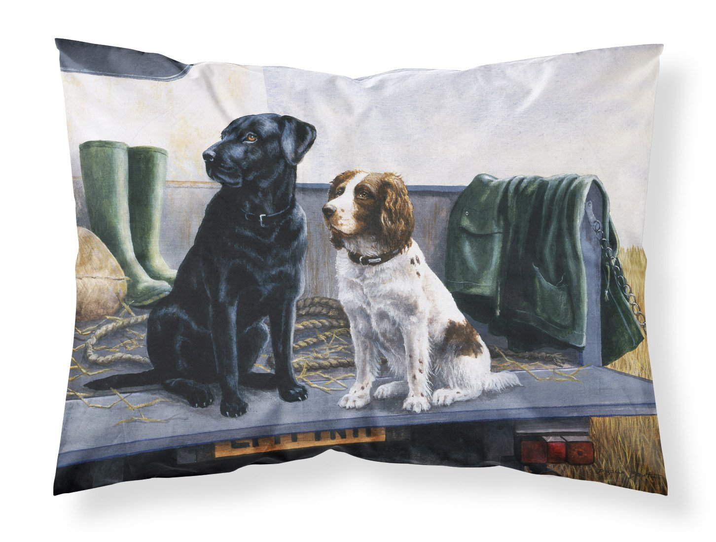 Buy this On The Tailgate Labrador and Springer Spaniel Fabric Standard Pillowcase BDBA0341PILLOWCASE
