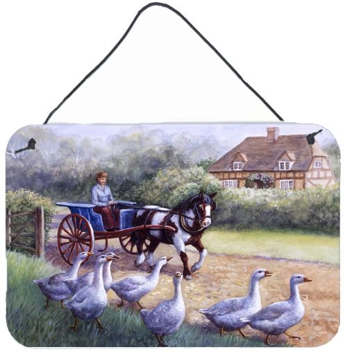 Buy this Geese Crossing before the Horse Wall or Door Hanging Prints