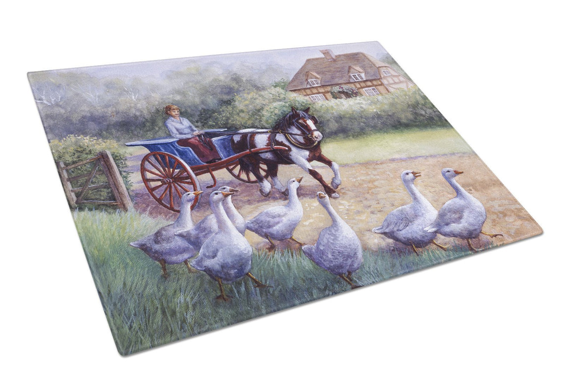 Buy this Geese Crossing before the Horse Glass Cutting Board Large BDBA0351LCB
