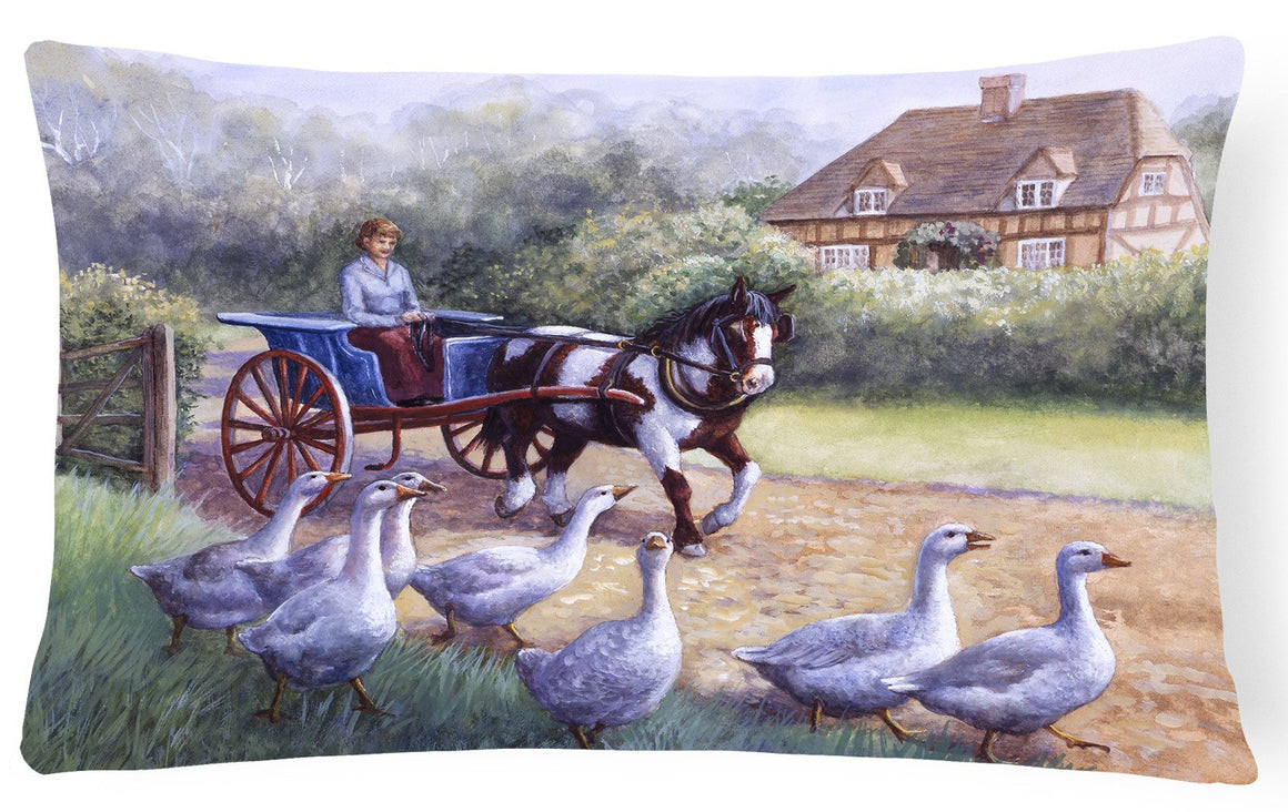 Buy this Geese Crossing before the Horse Fabric Decorative Pillow BDBA0351PW1216