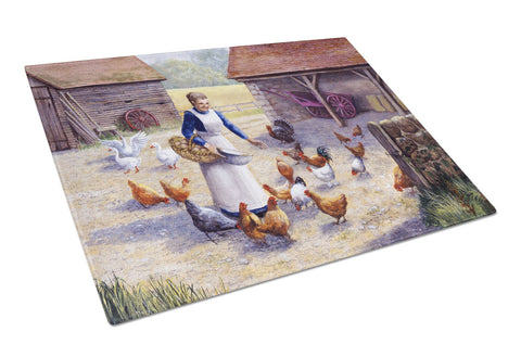Buy this Chicken Hen Feeding Time Glass Cutting Board Large BDBA0352LCB