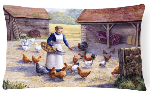Buy this Chicken Hen Feeding Time Fabric Decorative Pillow BDBA0352PW1216