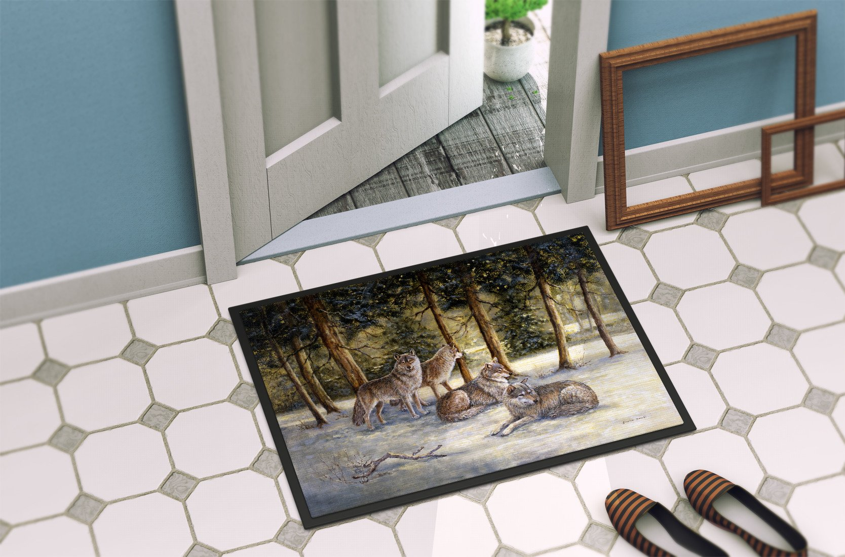 Wolves by Daphne Baxter Indoor or Outdoor Mat 24x36 BDBA0371JMAT - the-store.com