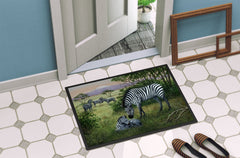 Zebras in the Field with Baby Indoor or Outdoor Mat 24x36 BDBA0385JMAT