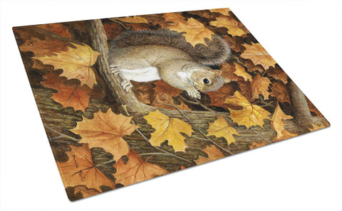 Buy this Autumn Grey Squirrel by Daphne Baxter Glass Cutting Board Large BDBA0388LCB