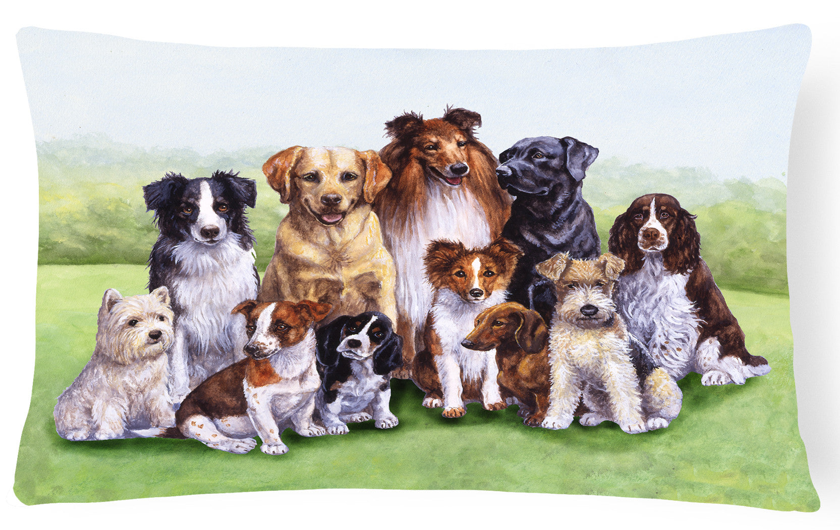 Buy this Springtime Dogs Fabric Decorative Pillow BDBA316BPW1216