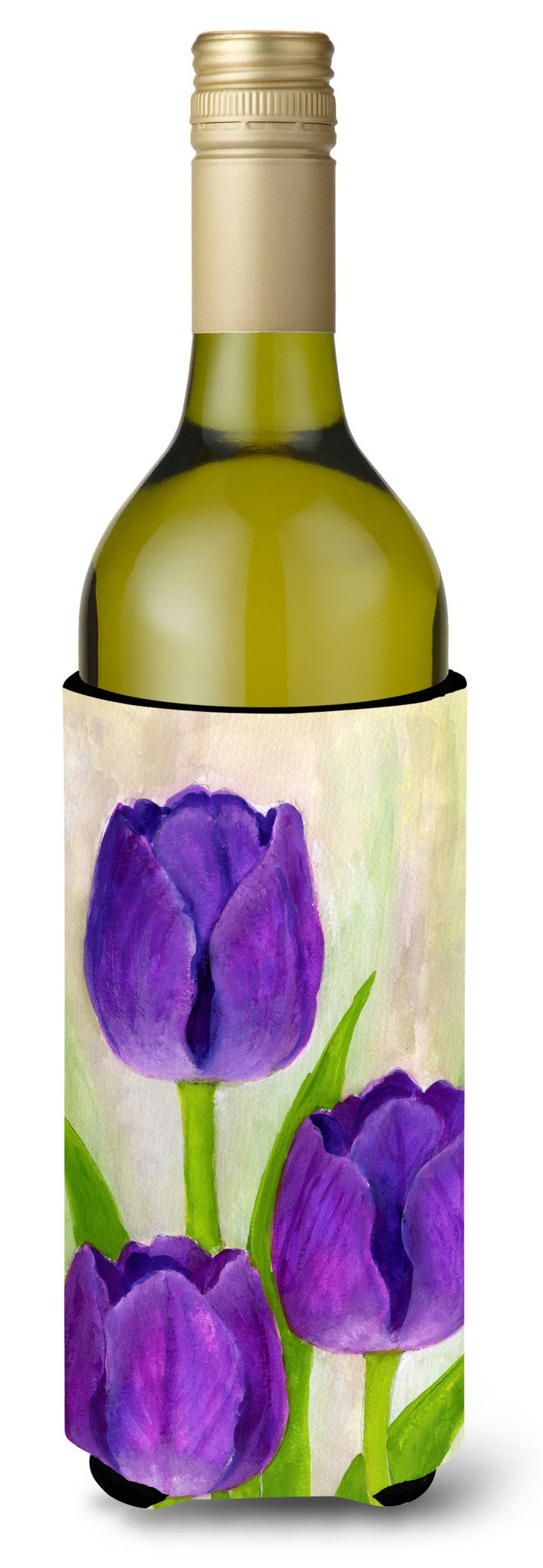 Buy this Purple Tulips by Maureen Bonfield Wine Bottle Beverage Insulator Hugger BMBO1033LITERK