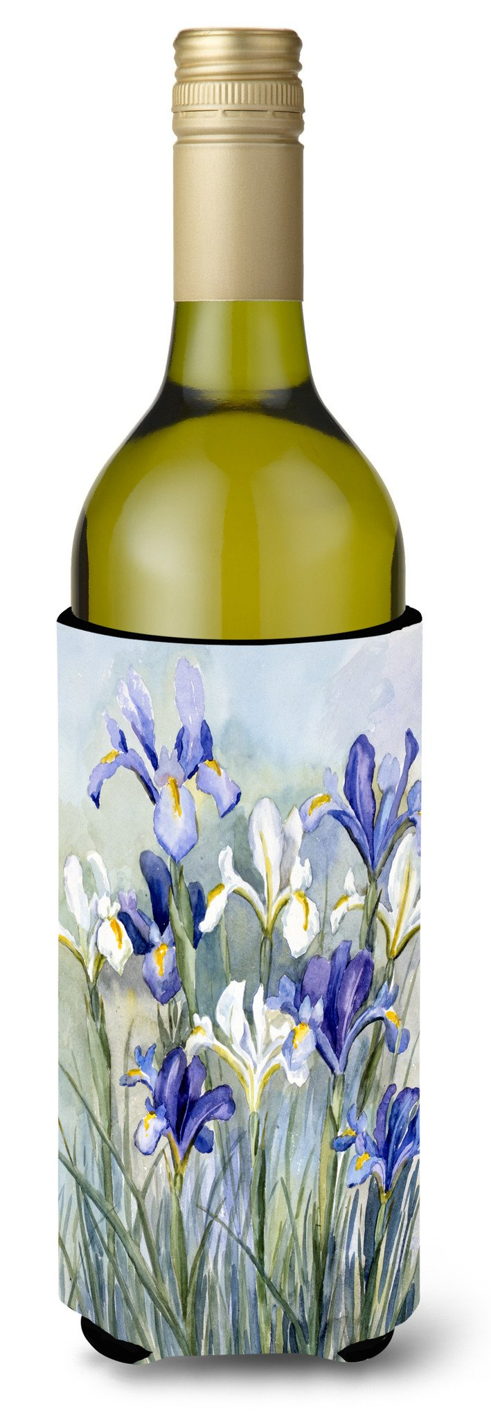 Iris by Bettie Cheesman Wine Bottle Beverage Insulator Hugger CBC0033LITERK by Caroline's Treasures
