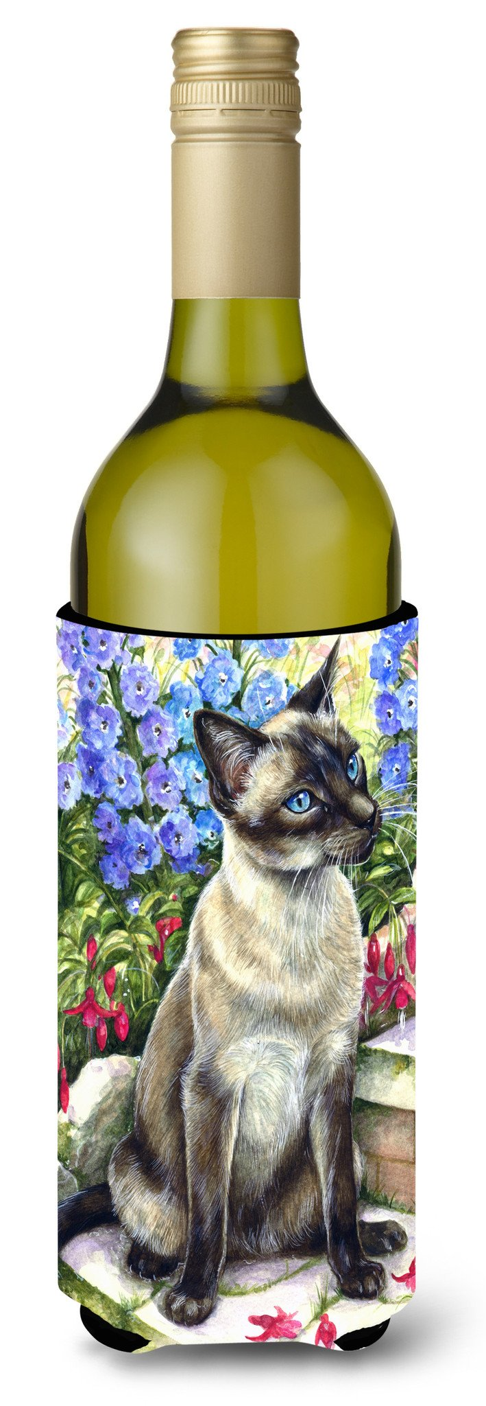 Buy this Siamese cat in the Garden Wine Bottle Beverage Insulator Hugger CDCO0026LITERK