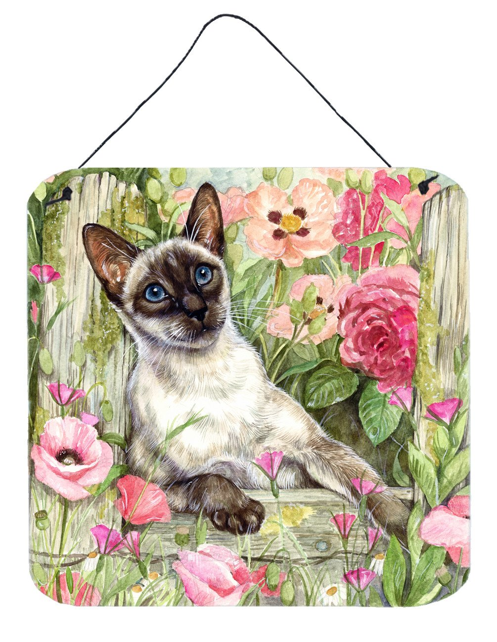 Buy this Siamese cat in the Roses Wall or Door Hanging Prints CDCO0033DS66