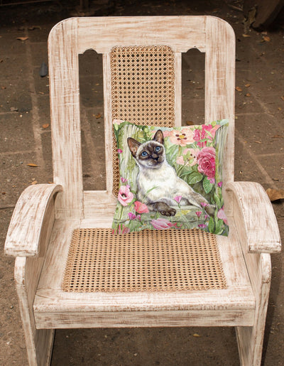 Siamese cat in the Roses Canvas Decorative Pillow CDCO0033PW1414