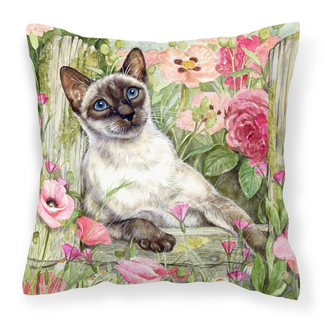 Siamese cat in the Roses Canvas Decorative Pillow by Caroline's Treasures