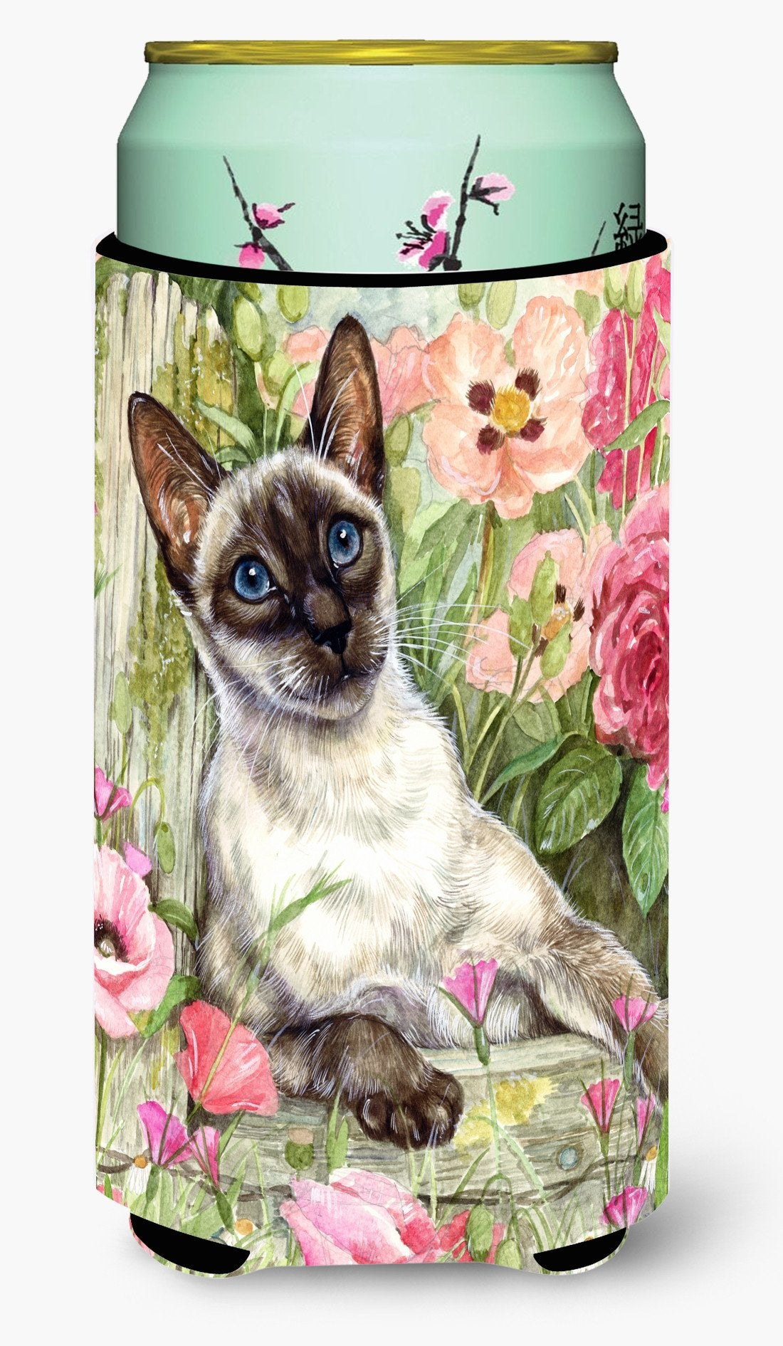 Siamese cat in the Roses Tall Boy Beverage Insulator Hugger CDCO0033TBC by Caroline's Treasures