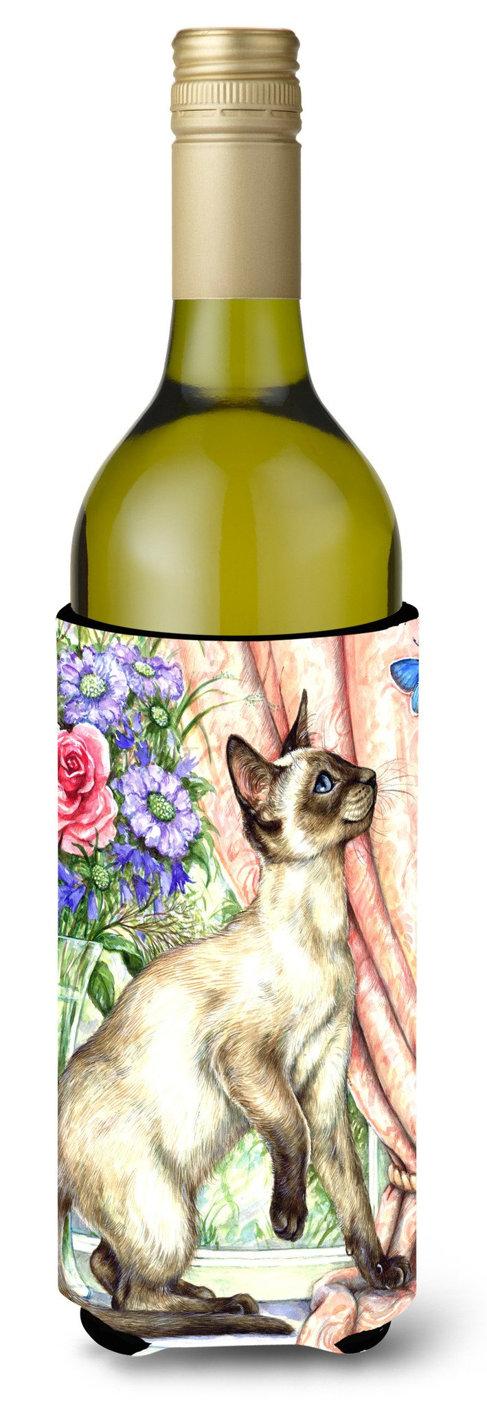 Buy this Siamese cat with Butterfly Wine Bottle Beverage Insulator Hugger CDCO0036LITERK