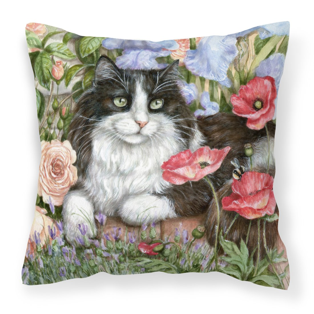 Buy this Black and White Cat in Poppies Canvas Decorative Pillow