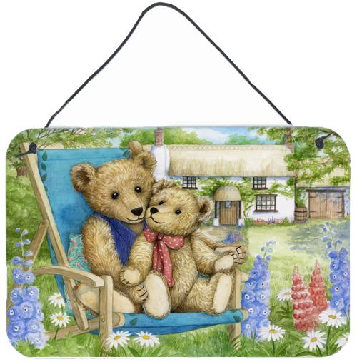 Springtime Teddy Bears in Flowers Wall or Door Hanging Prints by Caroline's Treasures