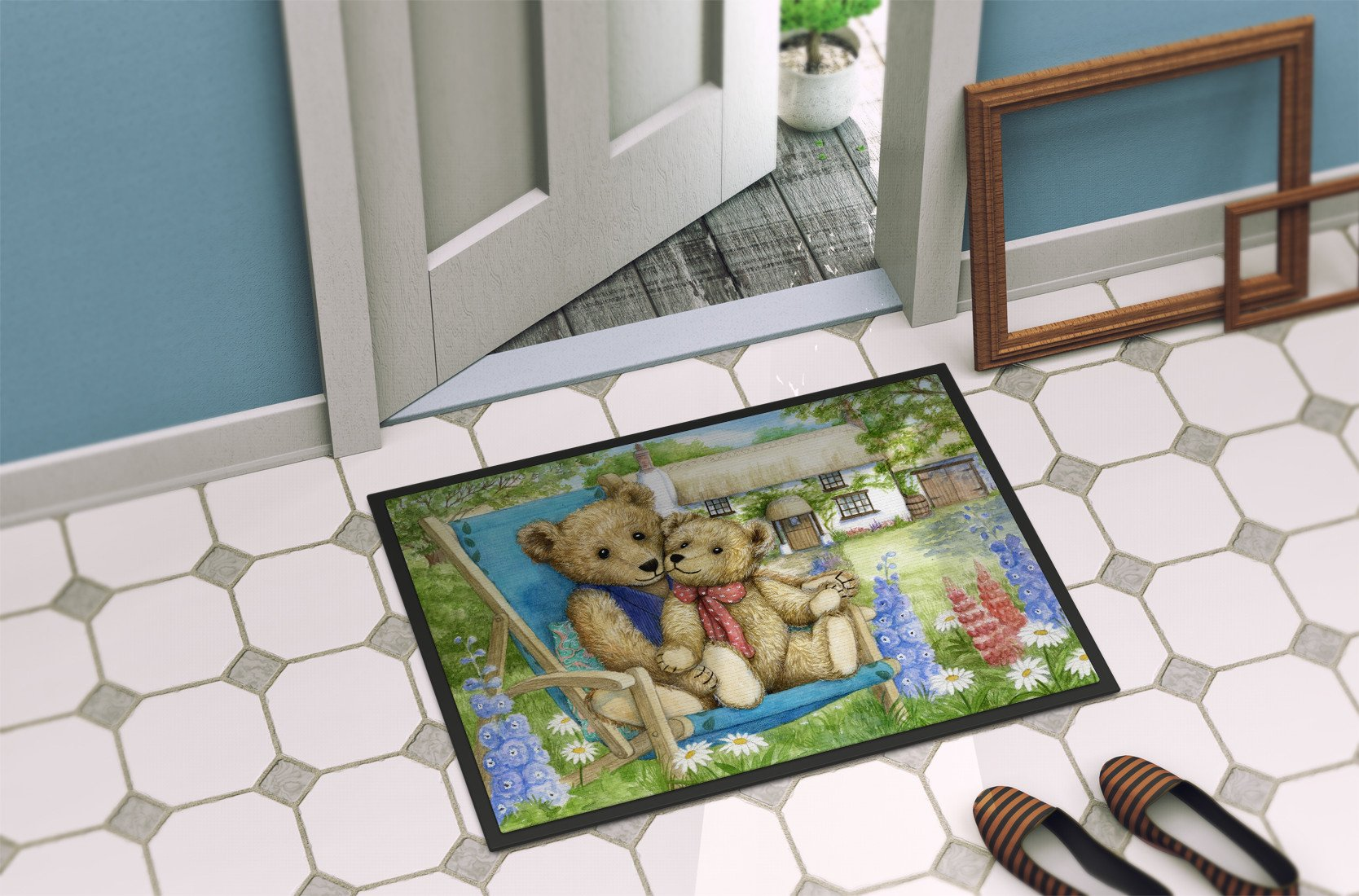 Springtime Teddy Bears in Flowers Indoor or Outdoor Mat 24x36 CDCO0306JMAT - the-store.com