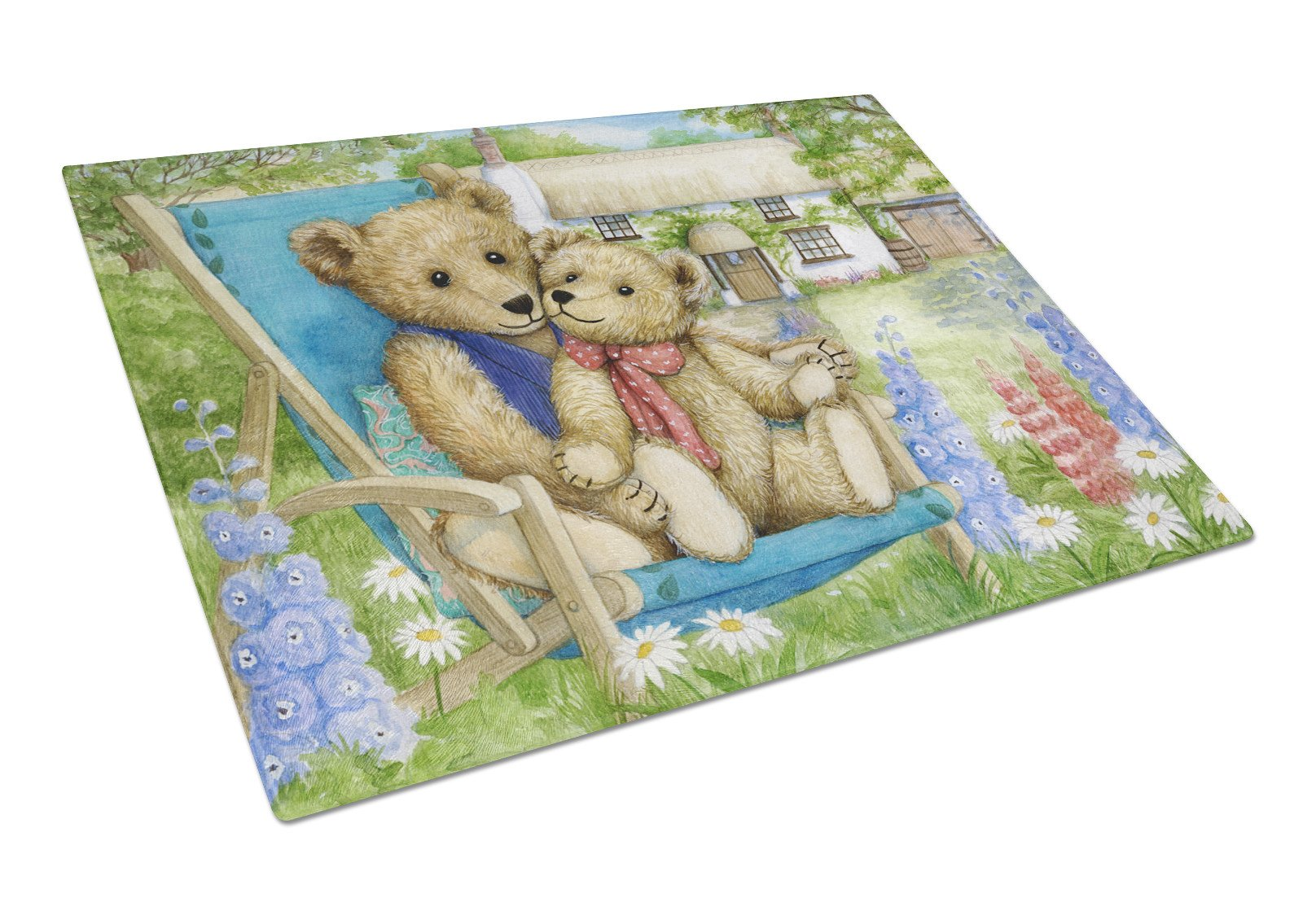 Springtime Teddy Bears in Flowers Glass Cutting Board Large CDCO0306LCB by Caroline's Treasures