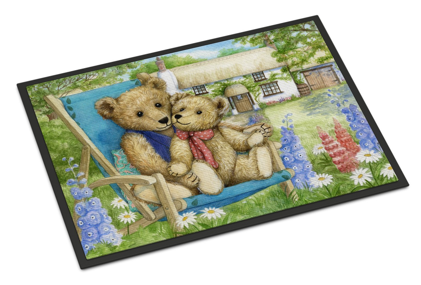 Springtime Teddy Bears in Flowers Indoor or Outdoor Mat 18x27 CDCO0306MAT - the-store.com