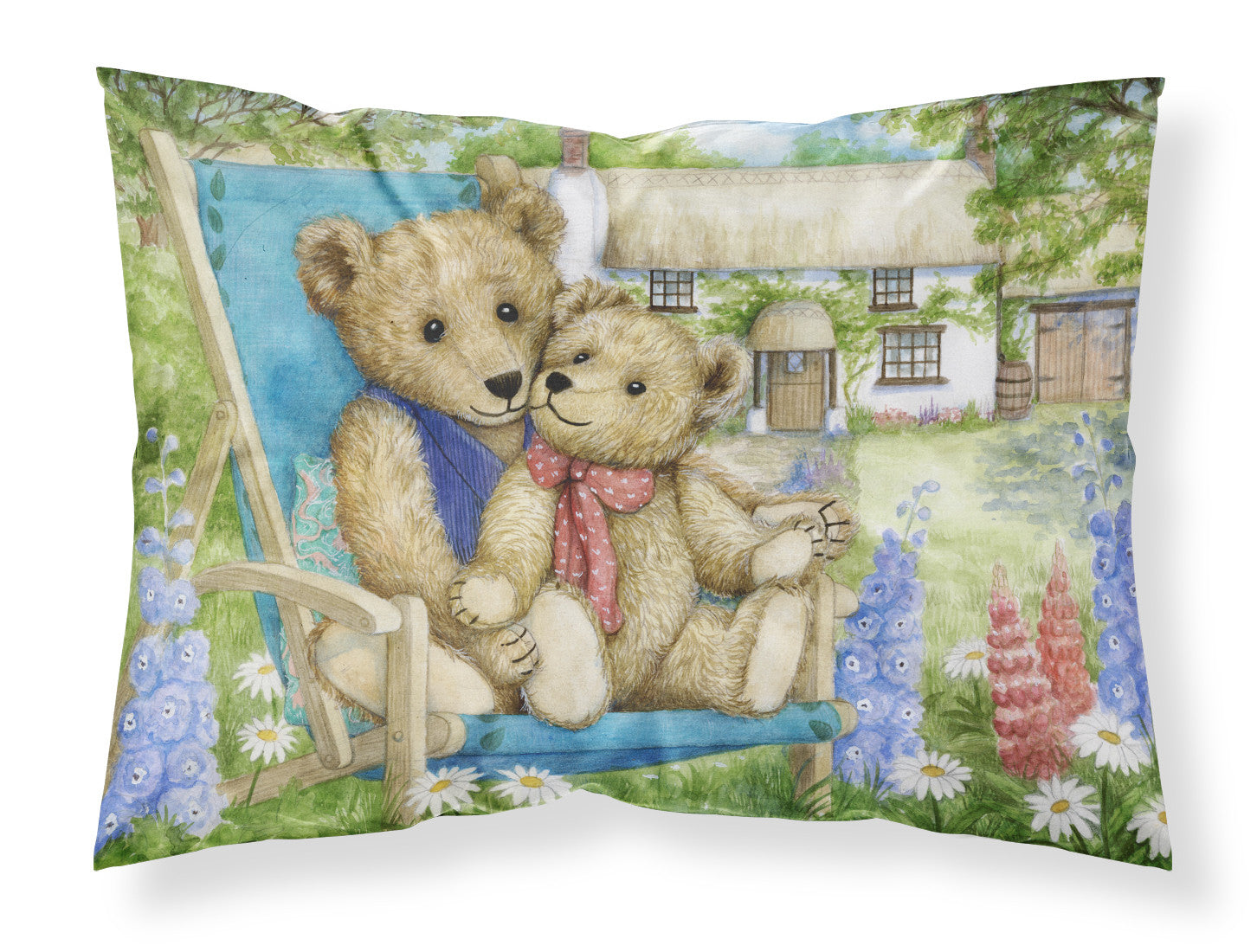 Springtime Teddy Bears in Flowers Fabric Standard Pillowcase CDCO0306PILLOWCASE by Caroline's Treasures