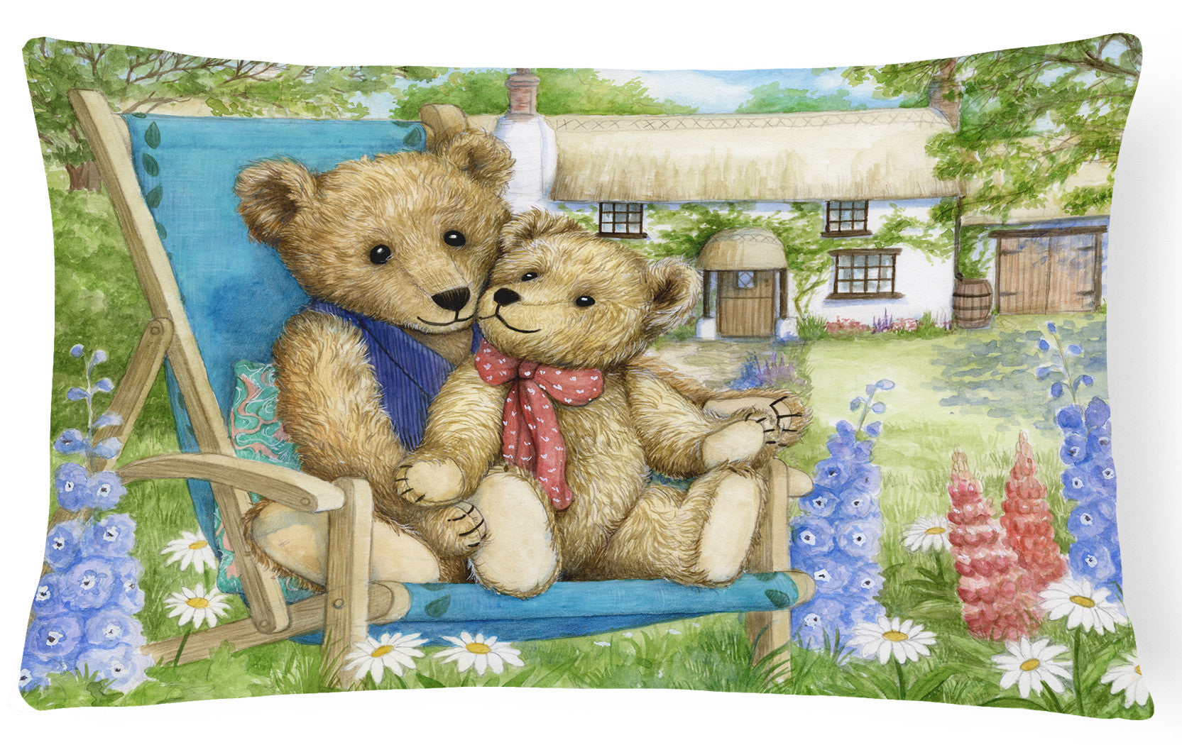 Springtime Teddy Bears in Flowers Fabric Decorative Pillow CDCO0306PW1216 by Caroline's Treasures