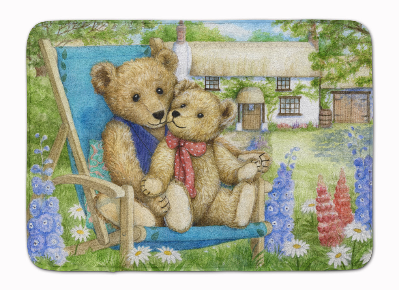 Springtime Teddy Bears in Flowers Machine Washable Memory Foam Mat CDCO0306RUG by Caroline's Treasures