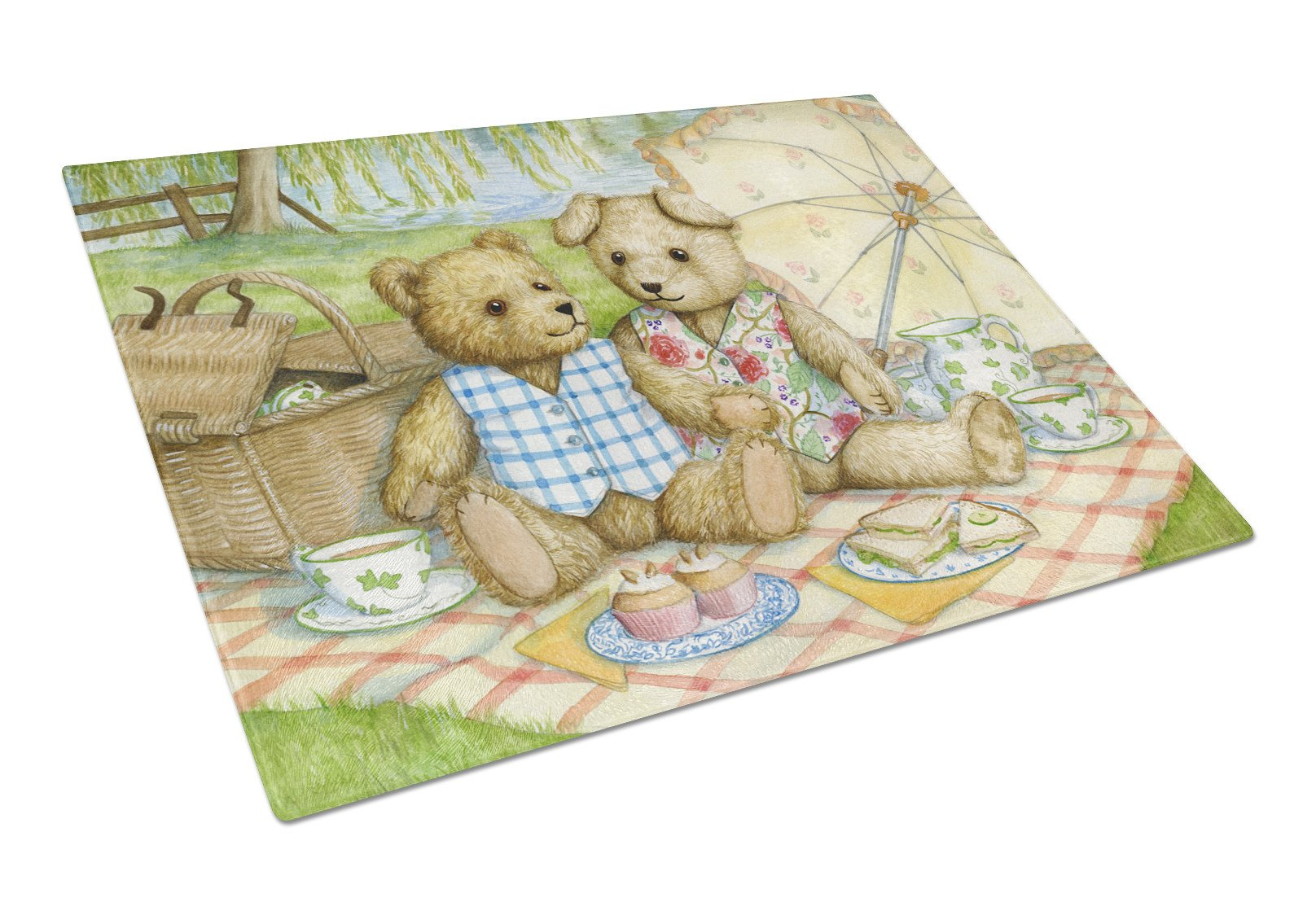 Summertime Teddy Bears Picnic Glass Cutting Board Large CDCO0308LCB by Caroline's Treasures