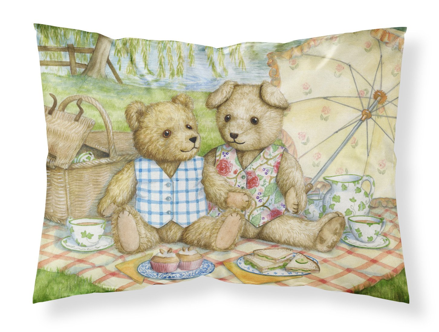 Summertime Teddy Bears Picnic Fabric Standard Pillowcase CDCO0308PILLOWCASE by Caroline's Treasures