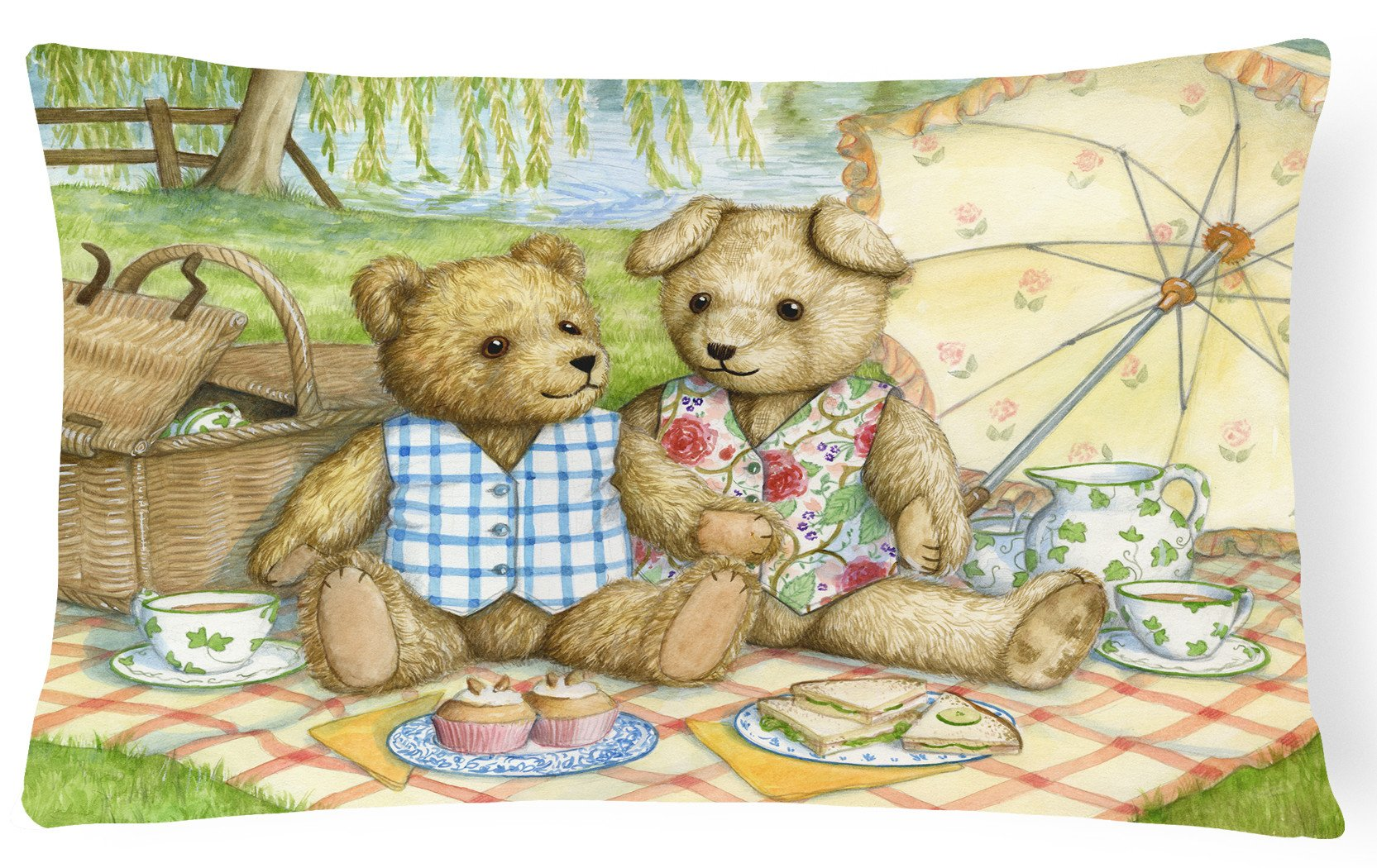 Summertime Teddy Bears Picnic Fabric Decorative Pillow CDCO0308PW1216 by Caroline's Treasures