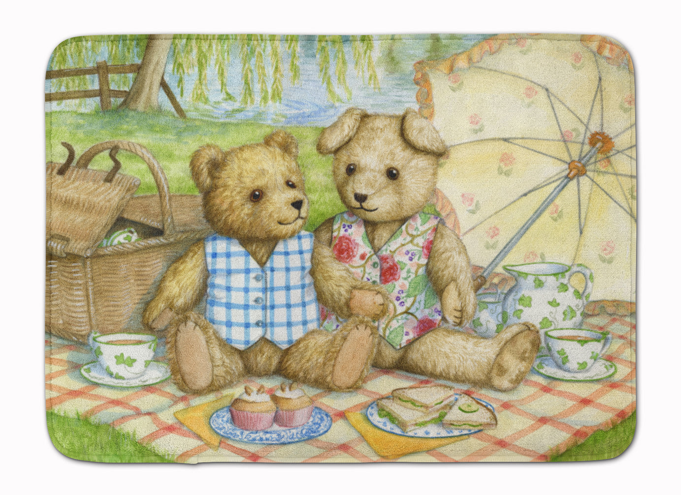 Summertime Teddy Bears Picnic Machine Washable Memory Foam Mat CDCO0308RUG by Caroline's Treasures