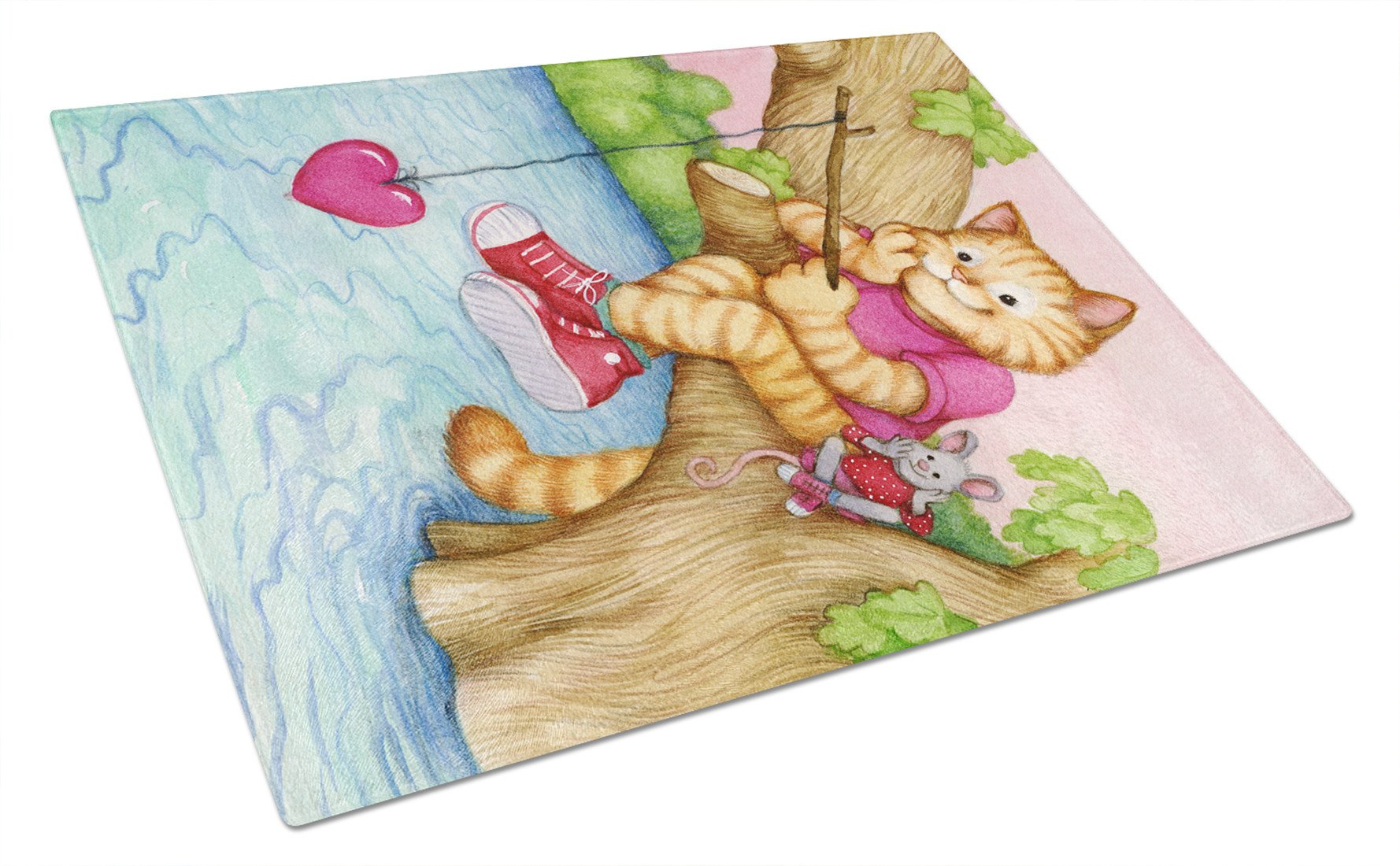 Valentine Cat Fishing For Love Glass Cutting Board Large CDCO0320LCB by Caroline's Treasures