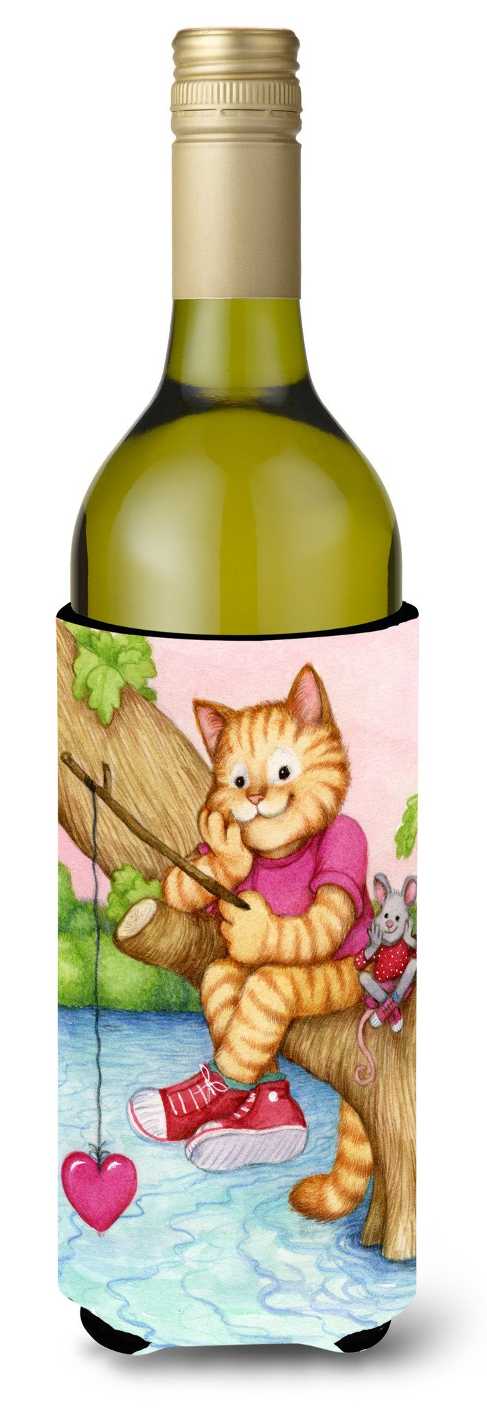 Valentine Cat Fishing For Love Wine Bottle Beverage Insulator Hugger CDCO0320LITERK by Caroline's Treasures