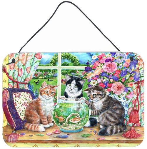 Cats Just Looking in the fish bowl Wall or Door Hanging Prints by Caroline's Treasures