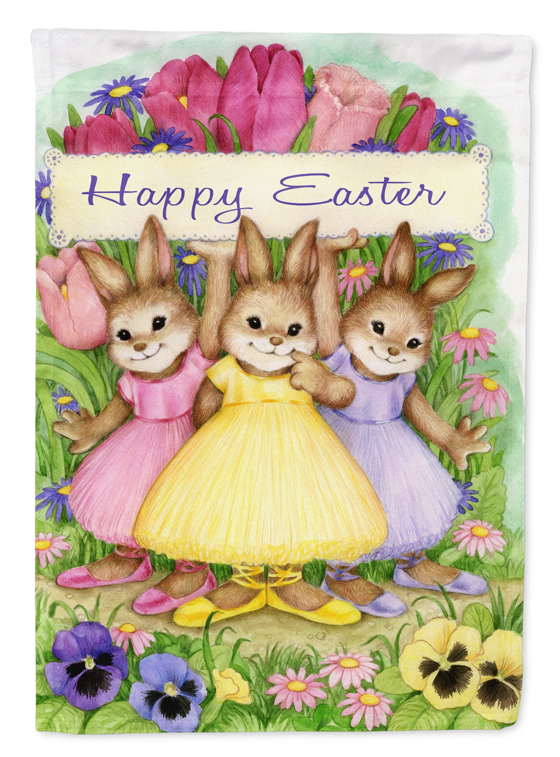 Three Bunnies Happy Easter Flag Garden Size CDCO0331GF by Caroline's Treasures