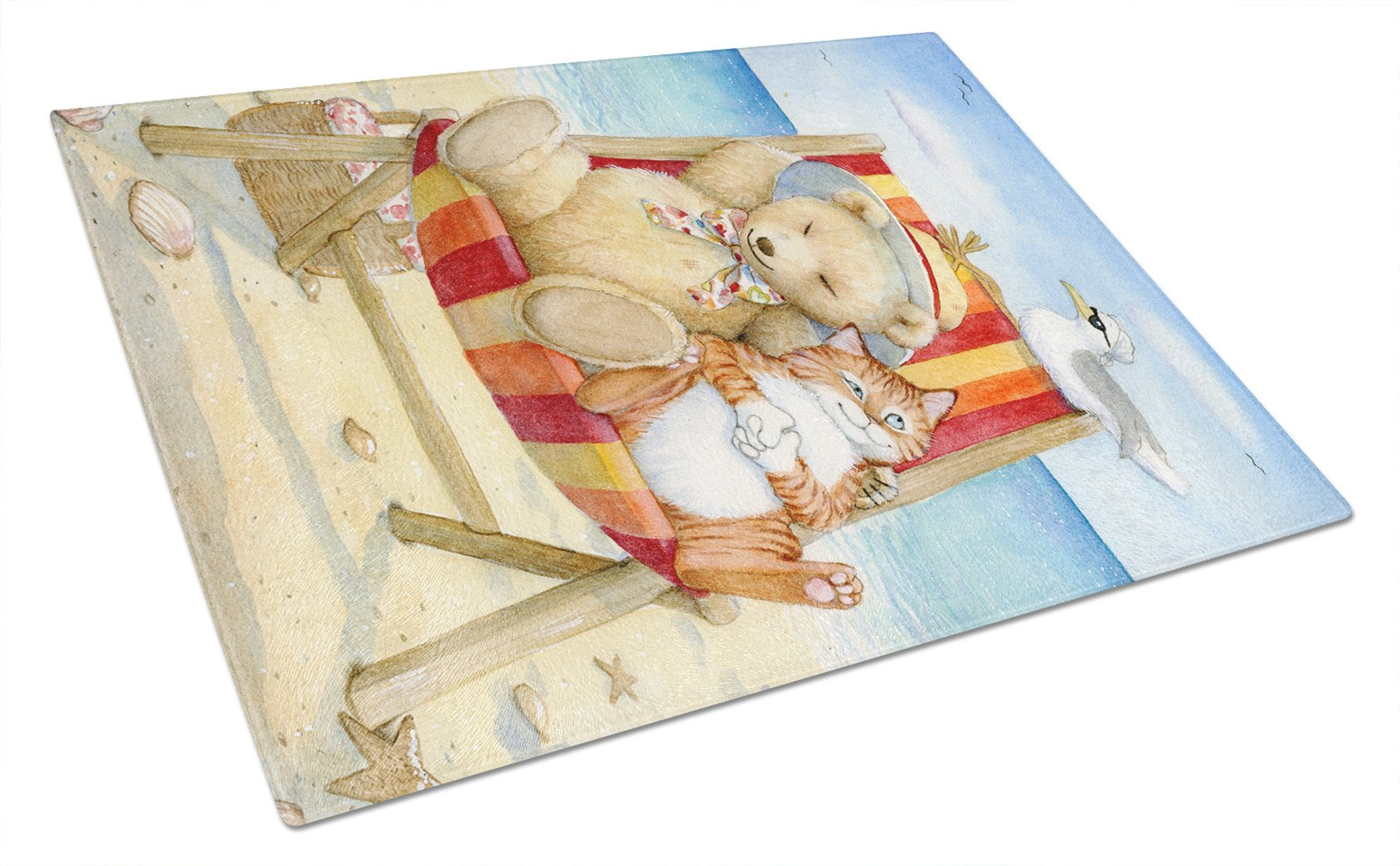 Summer Teddy Bear and Cat on Beach Glass Cutting Board Large CDCO0336LCB by Caroline's Treasures