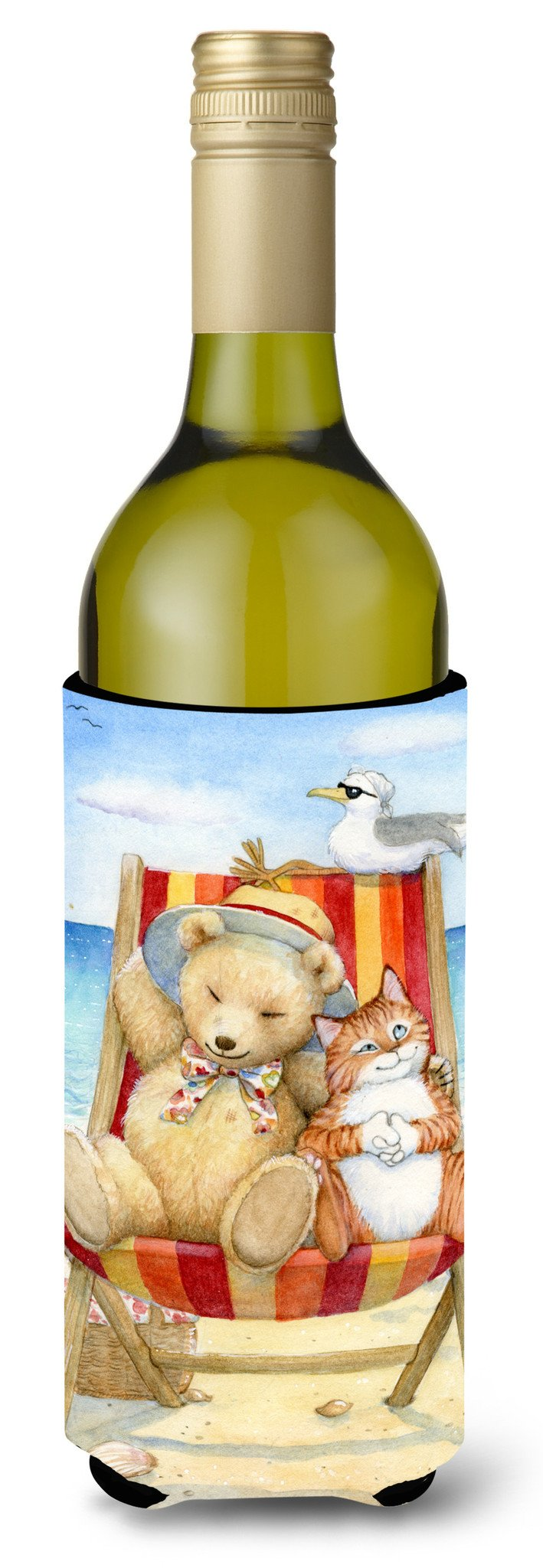 Summer Teddy Bear and Cat on Beach Wine Bottle Beverage Insulator Hugger CDCO0336LITERK by Caroline's Treasures